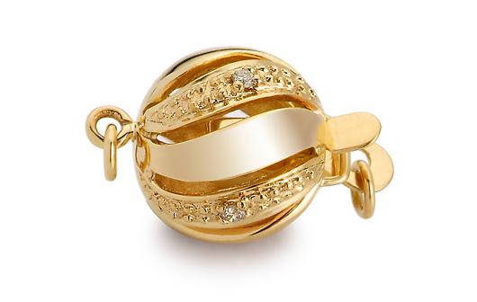 Fermoir Melograna, or jaune 18cts et diamants sertis