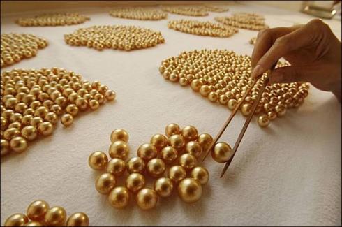 Perles d'australie dorée