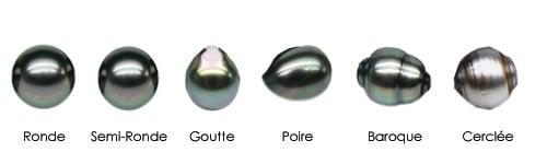 Différentes formes de perles de Tahiti