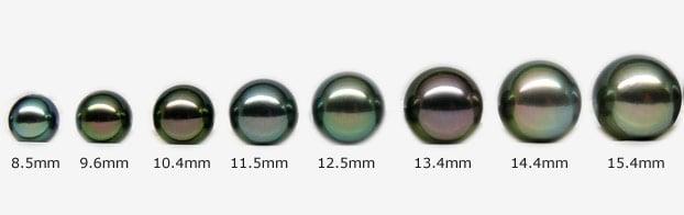 Perles de Tahiti de différentes tailles