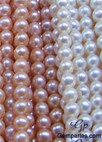 Perles de culture d'eau douce triées, prêtes à être utlisées dans le confection de bijoux