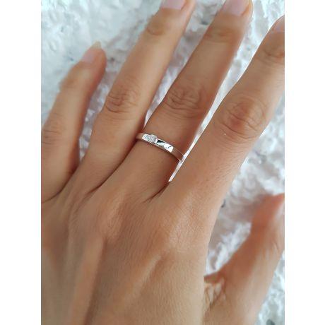 Alliance mariage originale - Alliance Femme - Or blanc - Diamant