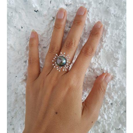 Bague de luxe - Récifs coralliens - Perle de Tahiti, or blanc, diamants