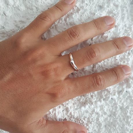 Alliance de mariage homme - Or blanc - Diamant