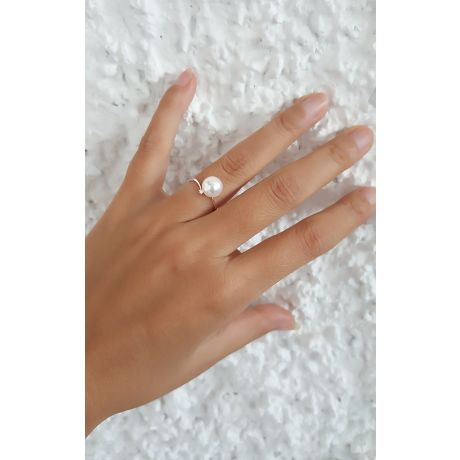 Bague or blanc - Perle Akoya blanche Japon - Diamants sertis 3 griffes