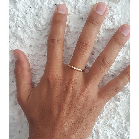 Alliances duo mariage - Motifs quadrillés - Or jaune, diamants clos