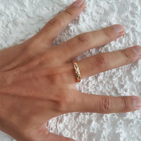 Alliance mariage en or - Alliance Homme - Or jaune 18 carats - Diamant