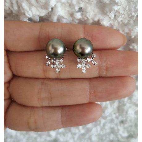 Boucles oreilles perles Tahiti motifs floraux - Or blanc, diamants