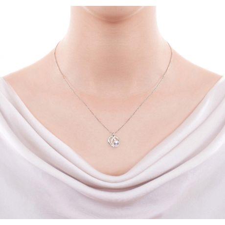 Pendentif et Boucles coeurs stylisés. Perles Akoya, Or blanc