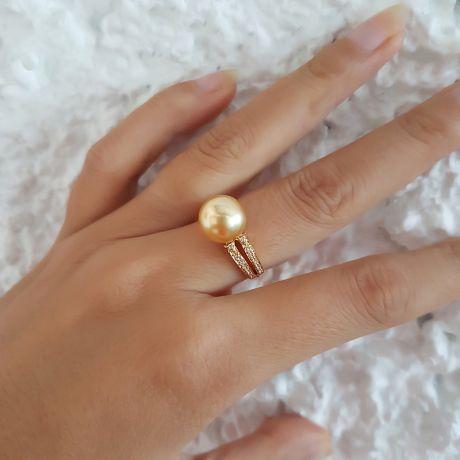 Bague des Australes - Perle d'Australie dorée - Or jaune, diamants