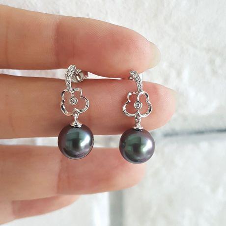 Boucles oreilles fleurs - Pendants perles de Tahiti - Or blanc, diamants