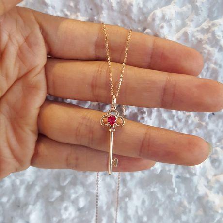 Pendentif clé Or rose - Rubis 0.15ct