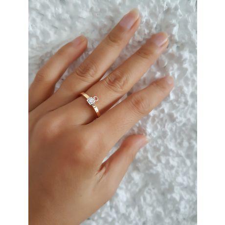 Solitaire pendentif - Bague de mariage en or blanc, jaune et diamants