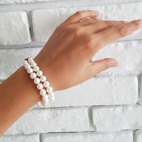 Bracelet double rang perles de culture - Perle blanche Chine - 7/7.5mm