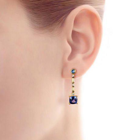 Boucle d oreille Élisabeth Ière - Tanzanite, saphir, diamant & Or jaune