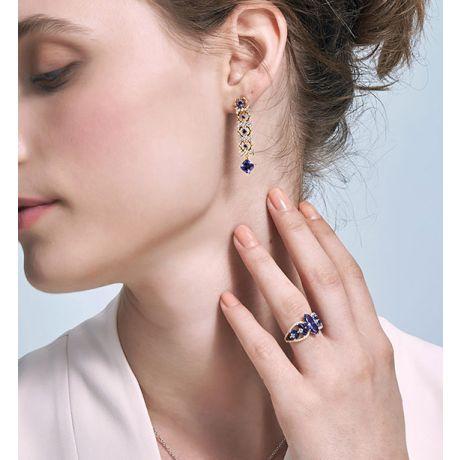Bague Mère Nature - Tanzanite & Saphir bleu - Or jaune, diamant