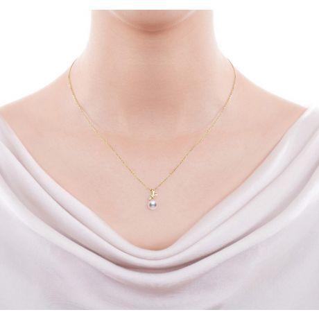 Pendentif et Boucles Ti noeud Koya. Perles Akoya, Or jaune, diamants