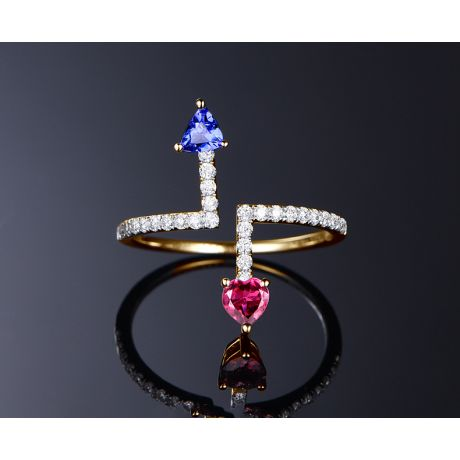 Bague Autre moi Or jaune. Diamants. Tourmaline, tanzanite