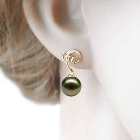 Boucles oreilles coeur - Pendants or jaune - Perles de Tahiti - Diamants