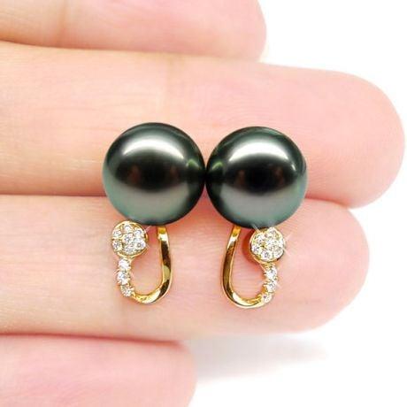 Boucles oreilles - Pendants perles Tahiti noires - Or jaune, diamants