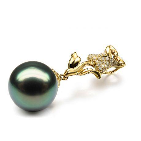 Pendentif rose - Perle de Tahiti - Or jaune, diamants pavés