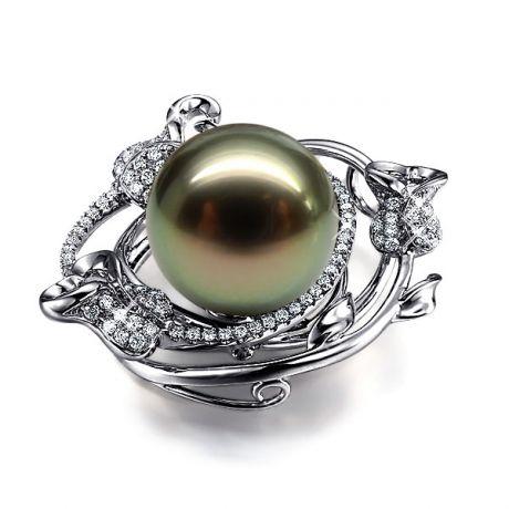 Pendentif la vie en rose - Perle de Tahiti - 3 roses or blanc, diamants