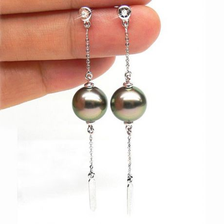 Boucles oreilles perles de Tahiti - Chaine gourmette - Or blanc, diamants