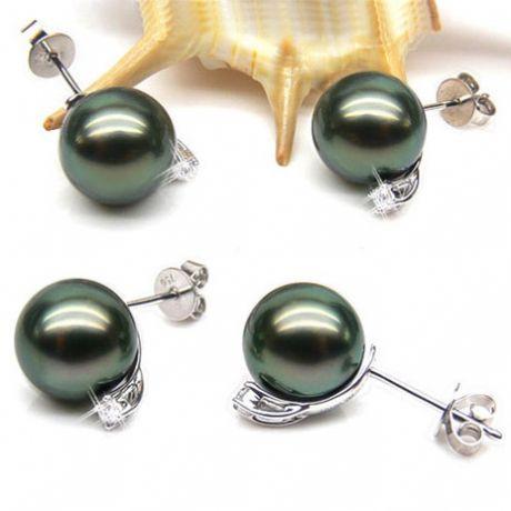 Boucles oreilles perles - Clous or blanc - Perle de Tahiti - Puces diamants