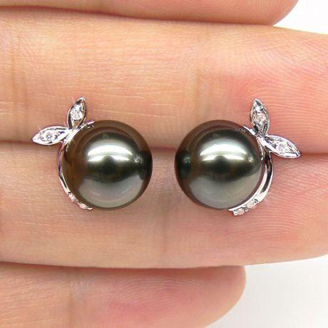 Boucles d'oreilles Bunny - Perles de Tahiti, or blanc, diamants sertis