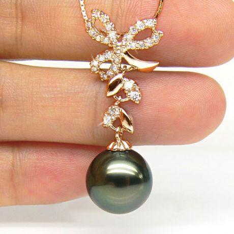 Pendentif création florale - Perle de Tahiti - Or jaune, diamants