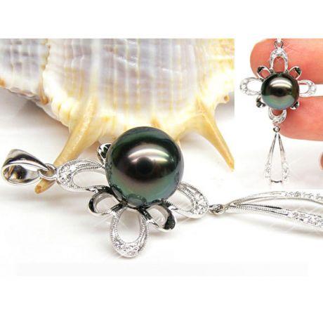 Pendentif perle de Tahiti noire - Tons bleus verts - Or blanc, diamants