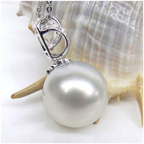 Pendentif Tasman enroulé - Perle d'Australie - Or blanc, diamants