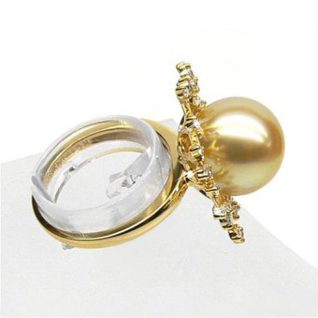 Bague luxe - Branche corail - Perle d'Australie, or jaune, diamants