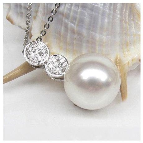 Pendentif création de joaillerie - Perle d'Australie blanche, or blanc