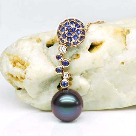 Pendentif boule de saphirs - Diamants - Perle de Tahiti, or jaune