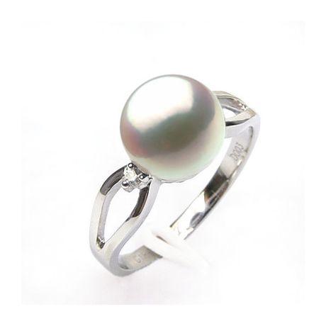 Bague blanc perle culture - Or, Perle Akoya du Japon et diamants