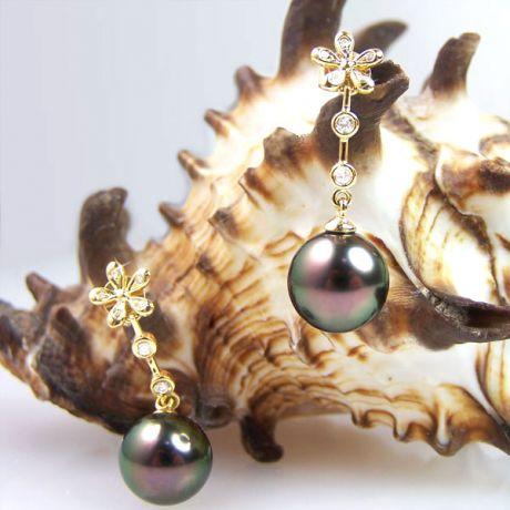 Création Boucles d'oreilles fleurs - Perles de Tahiti - Pendants or jaune, diamants