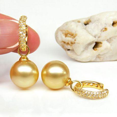 Dormeuses anneaux or jaune diamants pavés - Perles Australie