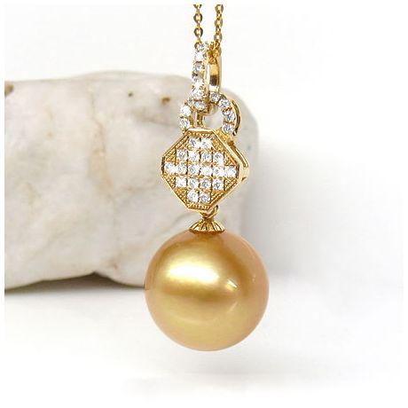 Pendentif bélière d'inspiration romaine - Perle d'Australie, or jaune