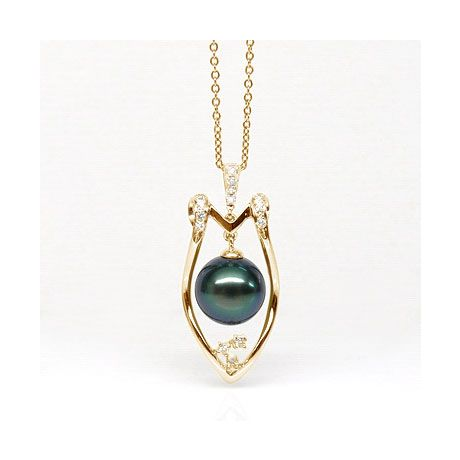 Pendentif protection - Bouclier - Perle de Tahiti - Or jaune, diamants