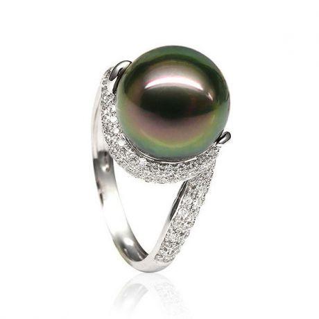 Bague perle de polynésie, Tahiti - Or blanc, diamants micro sertis