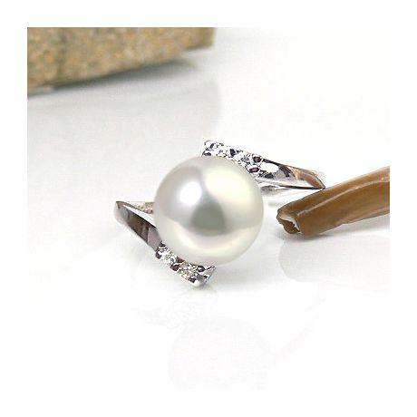 Bague ondulée solitaire - Or blanc, diamants - Perle blanche culture