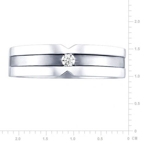Bague Homme. Or blanc. Diamant 0.055ct