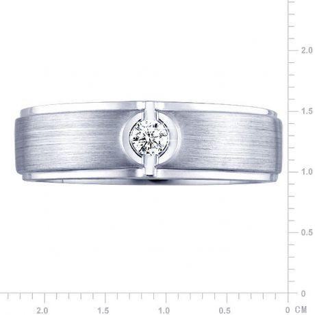 Bague Homme or blanc - Diamant solitaire - Or 750/1000 brossé et poli