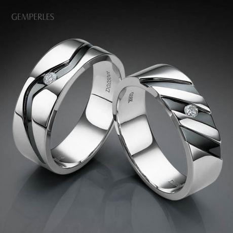 bague stylisée homme or gris - Or blanc 18cts - Diamant 0.050ct