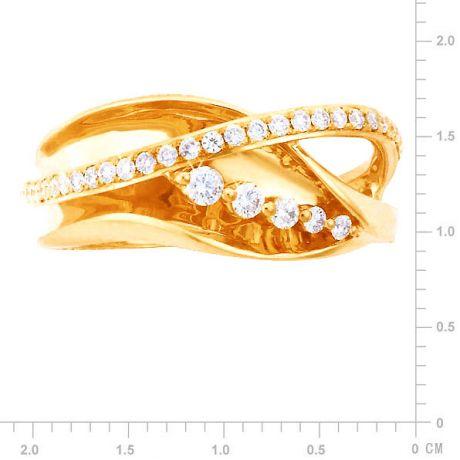 Fiançaille bague - Bague en or jaune 18cts - 35 Diamants de 0.33ct