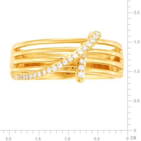 Bague 4 anneaux liés - Or jaune - Diamants sertis grains