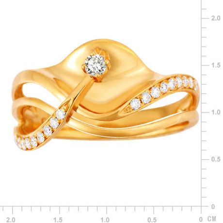 Bague or diamant - Or jaune 18 carats - Diamants 0.154ct
