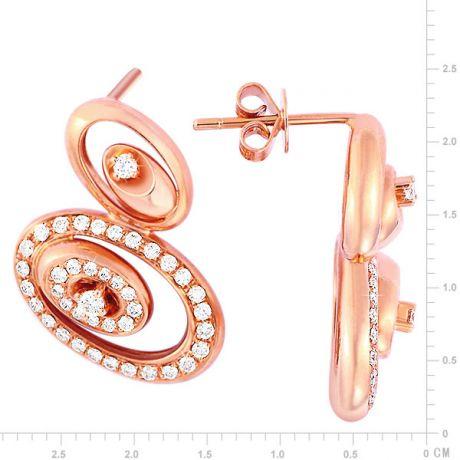 Crochets d'oreilles LOVE - Boucles d'oreilles or rose 18cts, diamants