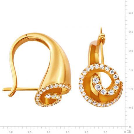 Dormeuses or jaune diamants formant la coquille légendaire de Triton